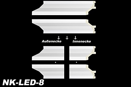 Preisvergleich Produktbild Innenecke Außenecke Stuckdekor Dekor für LED-Stuckleiste Zierleiste NK-LED, Modell:NK-LED-8