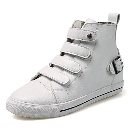 Damen Stiefeletten Schnürer Flache Schnellverschluss Canvas Herbst Sneakers Weiß