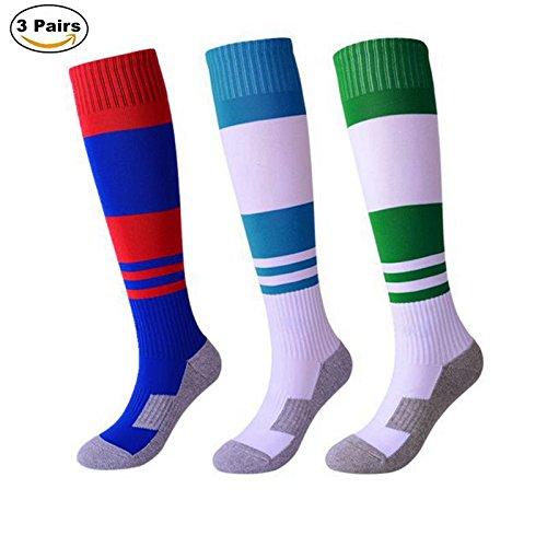 Calze da calcio, calzettoni a forma di calcio a righe alte e da calcio per ragazzi e ragazze di 8-15 anni (3 paia, taglia uk 2-5 / taglia eu 33-37)
