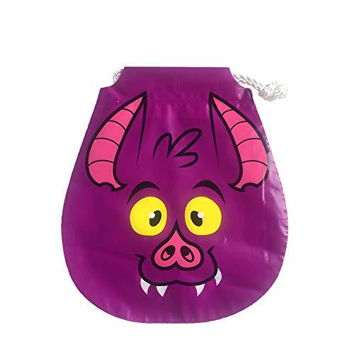 Halloween Tasche Kinder Lila Wildschwein Muster Geschenkbeutel Süßigkeitstasche Kordelzug für Kostüm Party ()