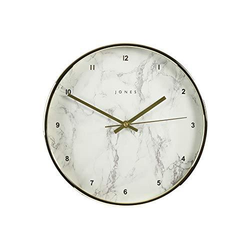 JONES CLOCKS® Penny Wanduhr Modernes Design in Silber, Kupfer, Gold, Grau oder Entenei blau 30cm (Gold und Marmor)