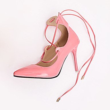 Moda Donna Sandali Sexy donna caduta tacchi tacchi in pelle di brevetto Casual Stiletto Heel Lace-up nero / rosa / rosso / grigio altri Red