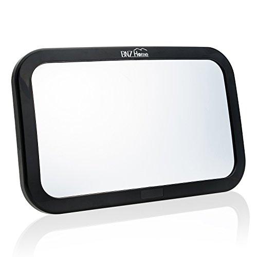 bnzhome per auto specchio posteriori vista regolabile Backseat Monitor per sicurezza bambini rivestita con anti-vibrazione Mount XL Specchio orizzontale o verticale poggiatesta montaggio per posteriori Seggiolino & # xFF08; Nero & # xFF09;