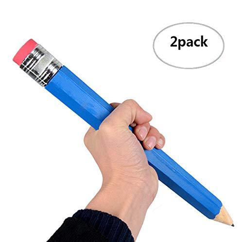 Lápiz grande de 2 piezas en el paquete de colores al azar, lápiz extra grande XXXL de madera con extremo de goma de borrar para niños, juguete y regalo