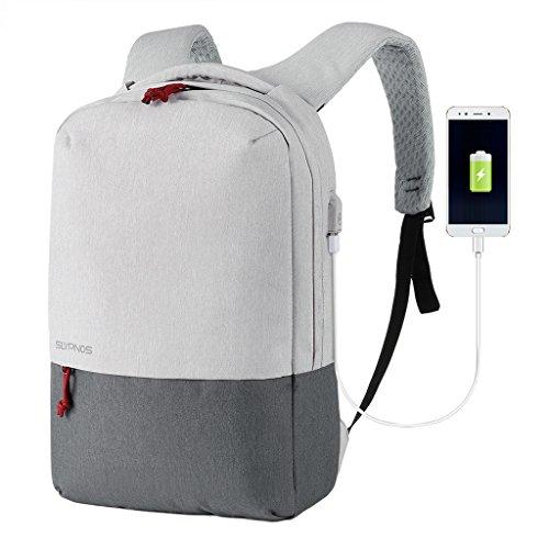 SLYPNOS Mochila para Portátil 15,6 Pulgadas con Puerto de Carga USB Negocio Backpack Escuela del Trabajo Diario Estudio para Hombre Mujer Estudiante - Gris