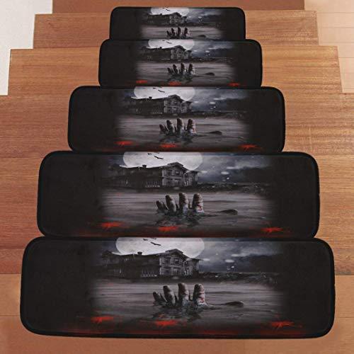 BZLine Stufenmatten, Halloween Rutschfeste korallenrote Vlies-beständige Teppich-Treppen-Matte, Stufenmatten für attraktive & sichere Treppenstufen   Set mit 5 Stück   robuste Allzweck-Matten für Stufen (A)