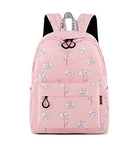 Joymoze zaino scuola media impermeabile per ragazze, borsa libri molto carina per donne fiore rosa