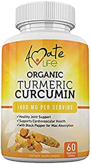 Organic Turmeric Curcumin Supplement- Tumeric with Black Pepper Capsules- Vegan Natural GMP Certified-Joint Pain Support Card