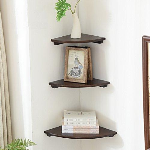 Sjysxm-floating shelf set di 3 mensole angolari in legno mensole in rovere da muro home storage mensole mobili da parete con mensole a muro con 3 diverse dimensioni (colore : noce)