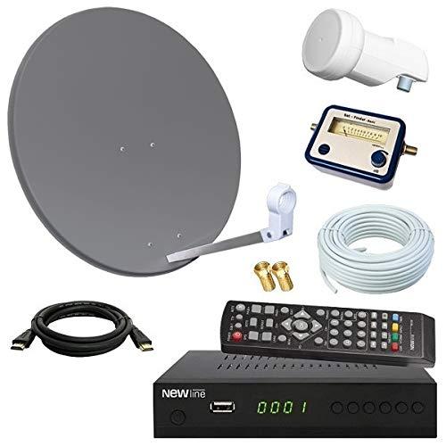 netshop 25 Digital SAT Anlage 60cm + HD Receiver + 10m Kabel + Opticum Single LNB + SAT Finder = HD Komplett Set (3 Farben wählbar) (Usb-sat-schüssel)