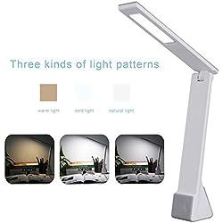 Ryham Ricaricabile Dimmable LED Desk Lamp cura degli occhi di ricarica USB Touch Control 4W 3 Modi freddo caldo di illuminazione per lo studio camera da letto lettura Bambino Ufficiale Argento