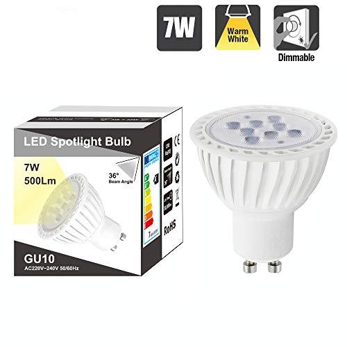 Lampara Bombilla Foco Spot de LED Casquillo GU10 Regulable 7W Luz Calida...