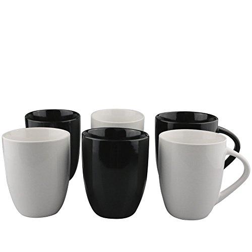 6er Set schwarze und weiße Keramik Kaffeetassen ohne Druck - zum bemalen und basteln geeignet - Simple Kaffeebecher zum personalisieren - 300ml - Tassen / Becher / Pott für Kaffee, Tee und mehr -Pro (Tee-set Schwarz Und Weiß)