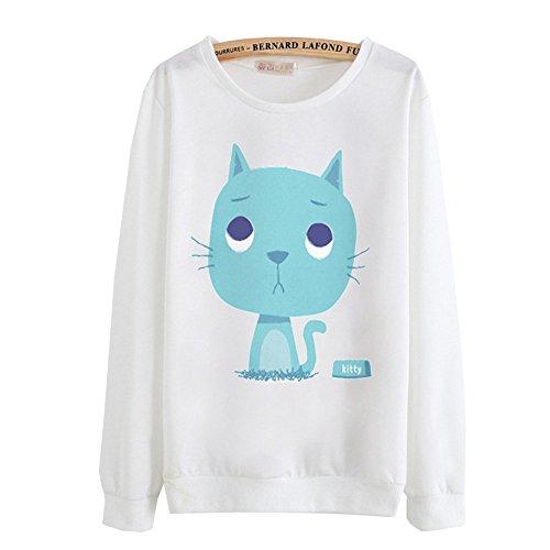 DaBag Felpe da Donna Ragazza Maglia Cartone Animato e Carino Maglione Stampa Sweatshirts Magliette Manica Lunga Top T-shirt Autunno e Inverno n12