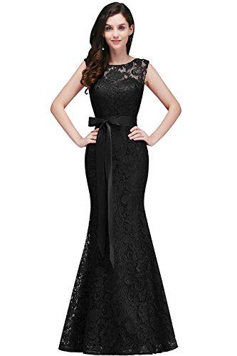 2017 Elegant Abendkleid Brautjungfer Cocktailkleid Meerjungfrau kleid Mit Satin Gurtel Schwarz Gr.40 (Kleid Elegantes Satin)