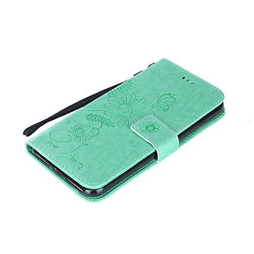 Custodia per iPhone 7 Plus Cover Pelle,SKYXD Colorata Fiore Formica Disegni 3D Morbida Flip Libro PU Pelle Portafoglio Custodia Case per iPhone 7 Plus Guscio Protettivo Coperture Antiurto 360 Protezio Verde