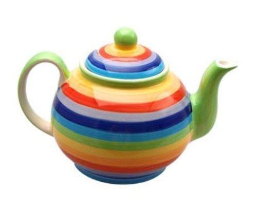 Windhorse arcobaleno a righe in ceramica teiera (piccolo)