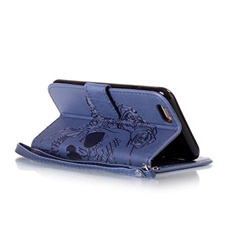 Hülle für iPhone 6S Plus, Tasche für iPhone 6 Plus, Case Cover für iPhone 6 Plus, ISAKEN Blume Schmetterling Muster Folio PU Leder Flip Cover Brieftasche Geldbörse Wallet Case Ledertasche Handyhülle T Skull Blumen Dunkelblau