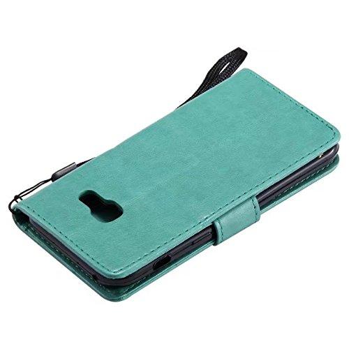 Pour Samsung Galaxy A3 2017 Case, TPU / PU en cuir estampé en cuir avec housse de motif avec fonction porte-monnaie et cordon et support et caractéristique Kickstand ( Color : Black ) Green