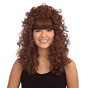 NEW LONG GINGER CURLY PERM WIG FANCY DRESS (peluca)