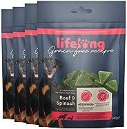 Amazon-Marke: Lifelong - Hundeleckerli, ohne Weizen mit Mono-Proteinquelle - Rind & Spinat (4 Packungen x