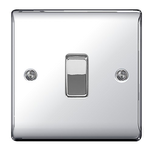BG Electrical 1-gang 2-way Nickle mit Metall-Schalter polished chrome - screwed (Dimmer Toggle)