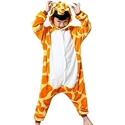 Happy cherry - Pijama Entero Disfraces de Animal Traje de Carnaval Halloween de Franela Cosplay para Niños Niñas Bebés - Jirafa - Talla ES 2 años