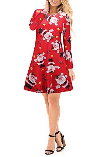YMING Damen Langarm Kleid St.Nikolaus Rudolph Schneemann Weihnachtsbaum Weihnachten Geschenk Mini Kleid,1701-Rot,2XL (Rote Seide Kleid Weihnachten)
