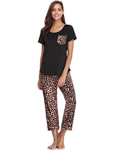 Haijiate pigiama donna due pezzi, pigiami estivi donna con scollo tondo,set pigiama donna maniche corte con pantaloni, stampa fiori/leopardo/striscia, s-xxl