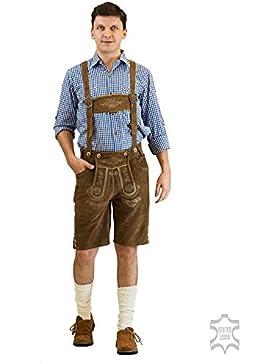 Kurze Herren Trachten Lederhose Oktoberfest Lederhose inkl. Trägern aus robusten Wildleder.