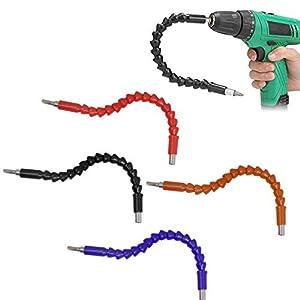 Xrten 4 Stück Flexible Power Bit Connect,Universal Schaft Bits Bohrer Verlängerung Schraubenzieher Bohrerverbindung