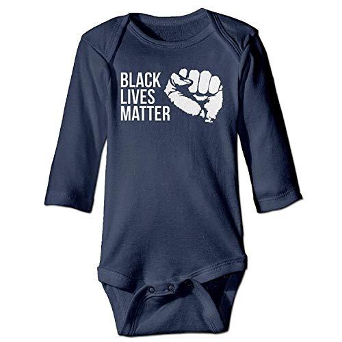 Unisex Newborn Bodysuits Black Lives Matter Boys Babysuit Long Sleeve Jumpsuit Sunsuit Outfit Navy Cotton Knit Romper