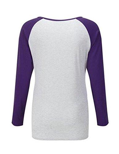 BESTHOO Donna T-Shirt Manica Lunga Girocollo Shirts Casual Sciolto Blusa Cucitura Fit Camicie Bottone Tops Moda Sexy Dark Purple