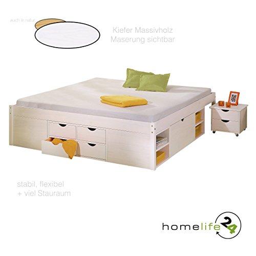 Bett 180x200 cm Doppelbett Stauraumbett Funktionsbett weiß Rost Kiefer massiv
