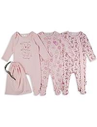The Essential One - Baby Mädchen Schlafanzuge/Schlafanzug/langarmeliger Body/ Strampler (3-er Pack mit Beutel) - Rosa - ESS186
