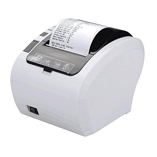 [Update 2.0] Excelvan 230mm/sec 80mm Weiße Farbe Thermodrucker Auto-Cut Quittungsdrucker Bondrucker mit USB/LAN/Anschluss, Kompatibel mit ESC/POS Druck Befehlen Eingestellt-EU (Pos Thermische Quittungsdrucker)