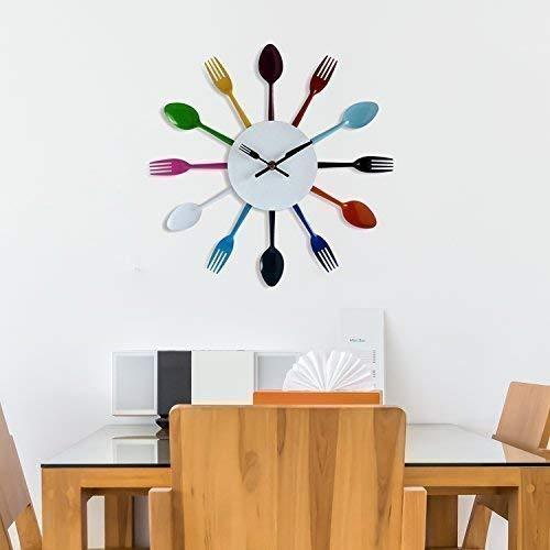 Walplus Reloj de Pared para Cocina Colorido de Cuchara y Tenedor, Mixto