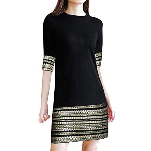 BOLANQ Mode Vintage Frauen Casual Elegant Splice Middle Sleeve Einfache Minikleid
