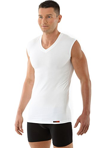 ALBERT KREUZ V-Unterhemd Business Herrenunterhemd aus Stretch-Micromodal atmungsaktiv ohne Arm weiß 7/XL (Unterhemd Lauren)