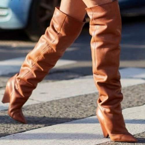 PIAOLDXZ Stivali Stivali da Donna Autunno Inverno Stivali Alti in Pelle con Pelliccia Calda Stivali sopra Il Ginocchio Scarpe con Tacchi Alt