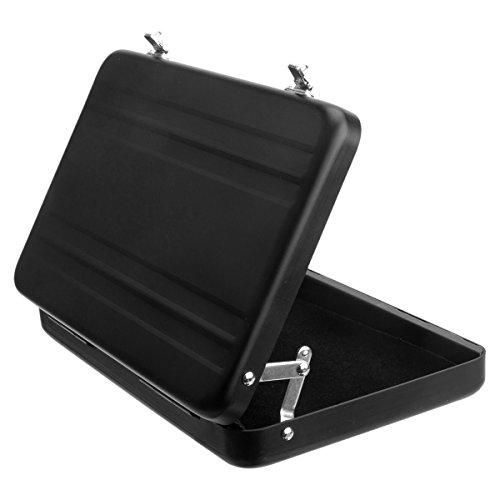 Woodmin Luftfahrt-Aluminium Mini-Koffer Geschäft / Kreditkarte / Namenskartenhalter Box, Schwarz