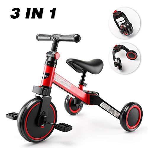 besrey 3 in 1 Laufräder Laufrad Kinderdreirad Dreirad Lauffahrrad Lauflernhilfe für Kinder ab 1 Jahre Schwarz ... (B)