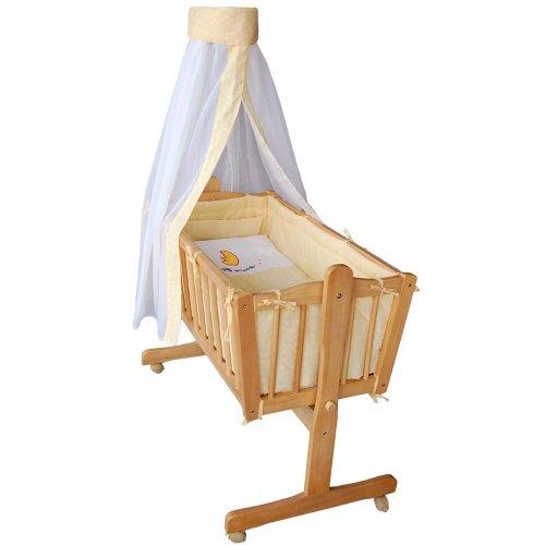*Komplette Babywiege Babybett Stubenwagen Schaukelwiege Wiege Babybett gelb 51365-02*