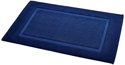 AmazonBasics - Alfombra de baño con franja, color azul marino