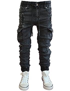 ST-027 SQUARED & CUBED Cargo-Jogg-Jeans Hose Junge Kinder schwarz 122-170