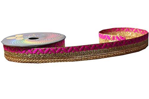 Golden & Pink Trim Lace Border for Sarees & Dupatta & Blouse 2.5 mtr