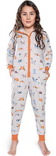 Italian Fashion IF Kinder Mädchen Jungen Jumpsuit Schlafanzug IFS18019 (Grau/Orange, 110-116)