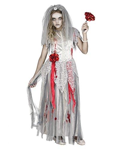 3-tlg. Zombie Braut Kinderkostüm für Halloween M