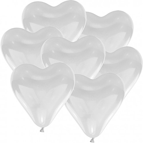 doriantrade 100 Herz Luftballons Ø 30 cm Farbe frei wählbar Herzballons Helium Luftballon (Weiß)