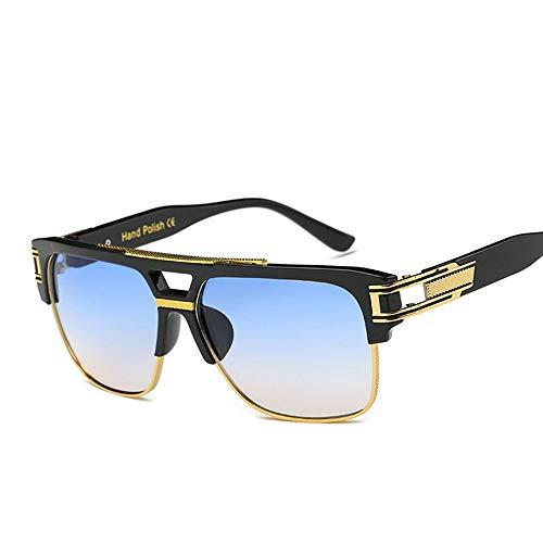 Easy Go Shopping Retro quadratische Brille für Herren und Damen, Bunte reflektierende Sonnenbrillen. Sonnenbrillen und Flacher Spiegel (Farbe : Blau)